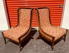 EXCEPTIONAL PAIR OF HOLLYWOOD REGENCY WOVEN CANE BACK LOUNGE CHAIRS