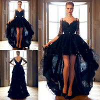 Black High Low Lace Half Sleeve Evening Dress Party Prom Formal Celebrity Gown