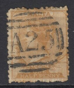 MALTA 1871 ½d YELLOW-ORANGE. PERF 12½. SG 15. USED Cat.£180 (2014)