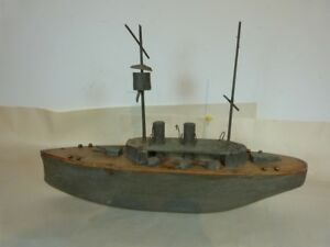 """VINTAGE HAND CARVED 20"""" GREY POND BATTLE STEAM SHIP WITH CROWS NEST"""