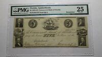 $5 1833-43 Apalachicola Florida FL Obsolete Bank Note Bill! VF25 PMG Currency