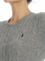 POLO RALPH LAUREN Women's Gray Wool Cashmere Cableknit Pullover Sweater L Large