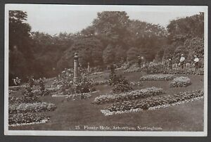 Postcard Nottingham early view of Flower Beds and Arboretum RP by Lewis