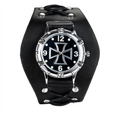 Men's Sport Punk Heavy Wide Leather Band Celtic Cross Analog Quartz Wrist Watch