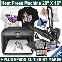 "20""X16"" HEAT TRANSFER PRESS T-SHIRT PLUS EPSON XL PRINTER REFILL INK START PACK"
