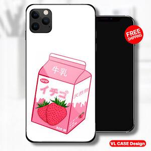 Anime strawberry Milk Glass Phone Case Samsung S20 Huawei iPhone Xiaomi Gift
