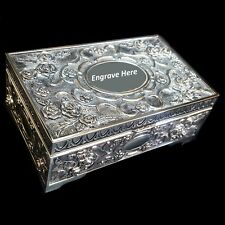 EXQUISITE Embossed Antique/Vintage Style Silver Plated Red Lining Jewellery Box