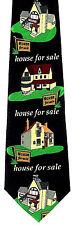 Houses For Sale Mens Neck Tie Real Estate Black Necktie Realtor Agent Gift New