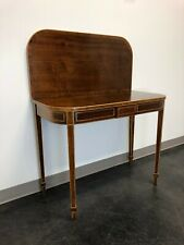 Vintage Banded Walnut Flip-Top Console / Game Table with String Inlay