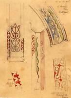 Dessin à l'aquarelle etude d'architecture de l'eglise SAINTE MARiE à Guildfor