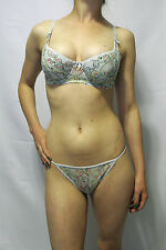 NEW w/tags Sweet Undy's Light Blue w/Embroidered Design Bra & Thong Set 36C - L