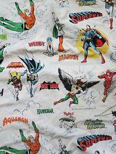Vintage 1976 Super Friends bed sheet Wonder Woman Batman Robin