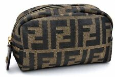 Authentic FENDI Zucca Pouch Canvas Leather Brown A1697