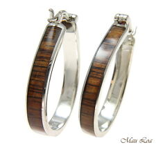 Koa Wood Hawaiian Rhodium Plated Brass 25x33mm Oval Hoop Snap Closure Earrings