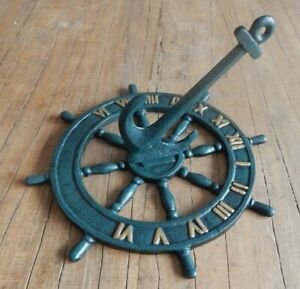 Cast iron Anchor ships wheel sundial Garden ornament Rustic style Nautical theme