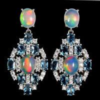 Oval Fire Opal Rainbow 10x8mm London Blue Topaz 925 Sterling Silver Big Earrings