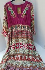 Johnny Was Silk Dress Bohemian Embroidered Burgundy Purple Teal S Small