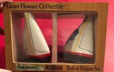 Grant Howard Sail Away Sail Boat Salt & Pepper Shaker Set Nib.