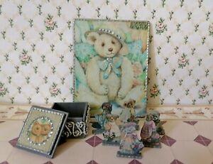 Artisian Teddy Bear Puppet Display Dollhouse Miniatures Artist Offerings 1:12