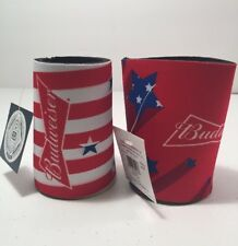 Budweiser Coozie Pack Of 2 Set 4th Of July Themed American Flag c4