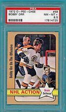 1972 Topps O-PEE-CHEE Bobby Orr – #58 PSA 8.5! Bruins!  POP 3! HOF!