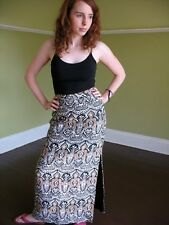 VTG 70s Woven Tapestry Maxi Hippie Skirt Susan Thomas India Paisley High Waist S