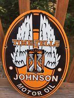 "Vintage Johnson Motor Oil Heavy Porcelain Oval Sign 16.5""x 11"" Gas & Oil"