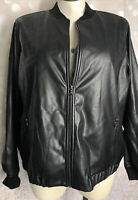 Evri 2x NWT Shiny Black Womens Zip Up Bomber JACKET MSRP $78 Faux Leather
