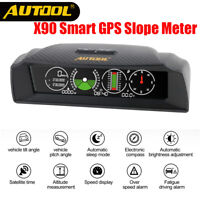 AUTOOL X90 GPS Speed Slope Meter Inclinometer Car Compass HUD Pitch Tilt Angle