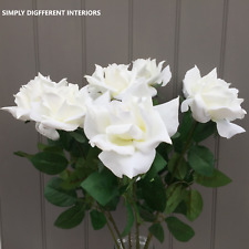 A Bunch of Artificial of White Open Roses, 5 Faux Silk Flowers.