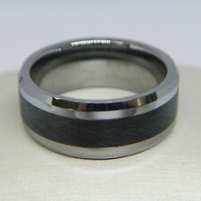TRITON 9.0MM COMFORT FIT TUNGSTEN CARBIDE AND BLACK CERAMIC WEDDING BAND