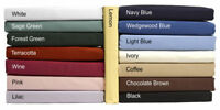 NEW 100% Cotton Fitted Bed Sheets in plain Dyed Colours Single, Double, King