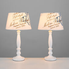 Pair of White Spindle Bedside Table Lamps Vintage Syle Blue Script Lampshades
