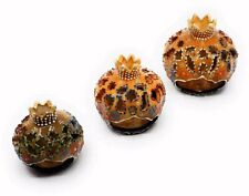 Traditional Turkish Pottery Pomegranate Shaped Candle/Incense Burner Set of 3