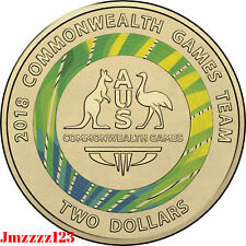 2018 UNC $2 Coin Commonwealth Games Week 3 Green 2018 Two Dollar Coloured Coin