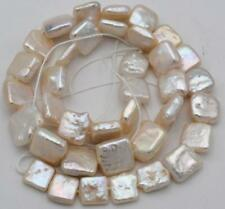 """1 strand 10-11mm natural white south sea Baroque square pearl loose beads 15"""""""