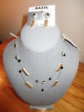 NWT Silver Tone Beaded Illusion Floating beads Necklace and Matching earrings