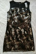 BNWT Tu Black Sequinned Party Shift Dress, size 14