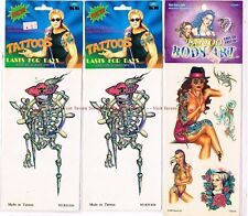 Lot of THREE Body Art Skeleton Pirate Naked Ladies Temporary Tattoos