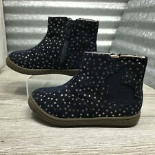 Cat & Jack Girls Navy Pink Little Stars Glitter Ankle Rabbit Zip-up Boot Size 7C