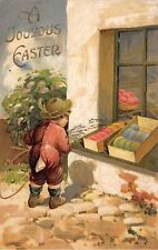 Easter~Lil Boy With Back Flap Long Johns~Color Egg Store Windows~Emboss~Germany