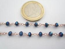 1 metro catenina rosario color rosè concatenata cristallo blu metallo  3,5 mm