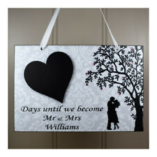 PERSONALISED Wedding Countdown Chalkboard Plaque Mr and Mrs Engagement Gift 640