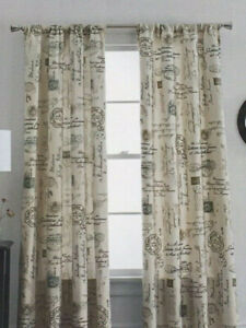 JC Penney Home Rod Pocket Set of 2 Curtain Panels - French Script Orion Blue