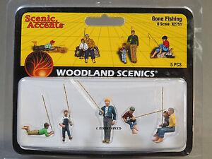 WOODLAND SCENICS O SCALE GONE FISHING figure pole fish boys men WDS2751 NEW
