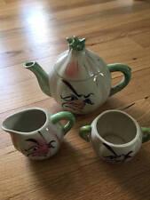 Garlic Anthropomorphic Teapot Creamer & Sugar Set 1950's/60's 4 Pc. EXC