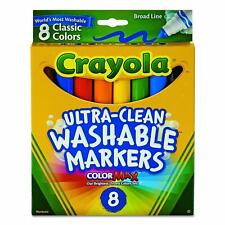 Crayola Ultra-Clean Washable Markers Broad Line Classic Vibrant Colors 8 count