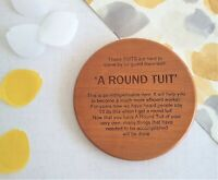 A Round Tuit Cherry Wooden Coaster, Natural Engraved Drink Mat - No Lip