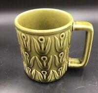 Vintage Olive Green Crackle Glazed Japan Pottery Mug w/Raised Relief Cranes 8oz