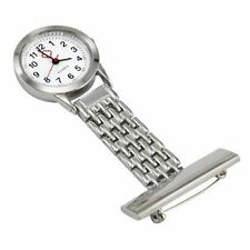 Stainless Steel Nurse Watch Silver Quartz Fob Pocket Brooch+FREE 2 BATTERIES AG4